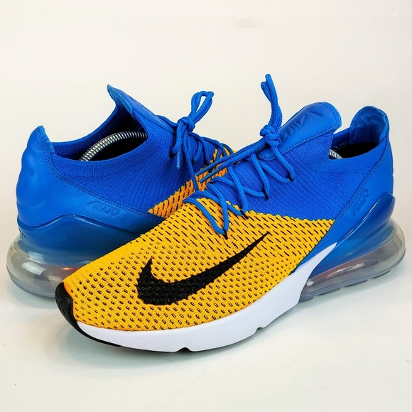 official photos c8cca abac7 NEW Nike Air Max 270 Flyknit Blue White Yellow